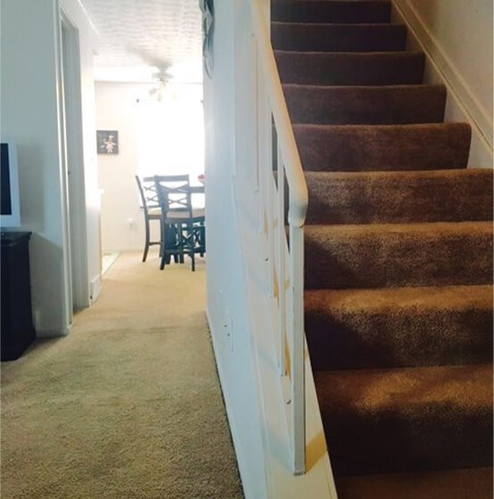 carpeted stairs at Columbus OH apartment