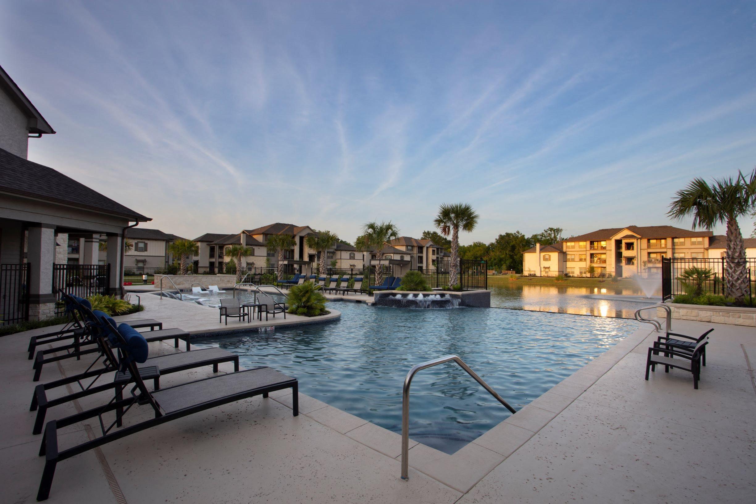 Pool at twilight at Legacy at 2020