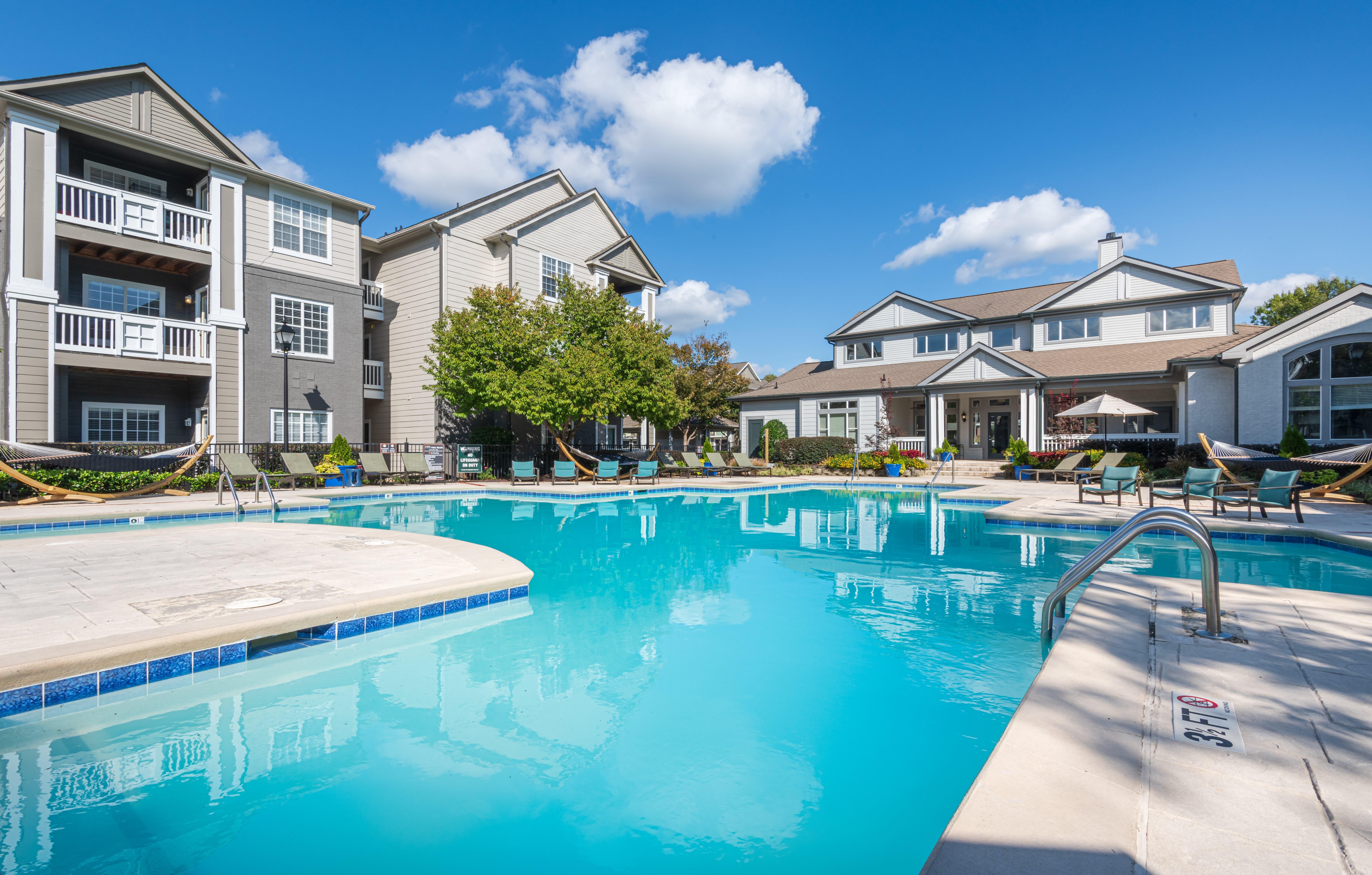 Sparkling Swimming Pool at 501 Estates apartment homes in Durham, NC