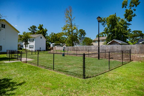 Fenced-in Bark Park at Deerbrook Apartment Homes in Wilmington, NC 28405