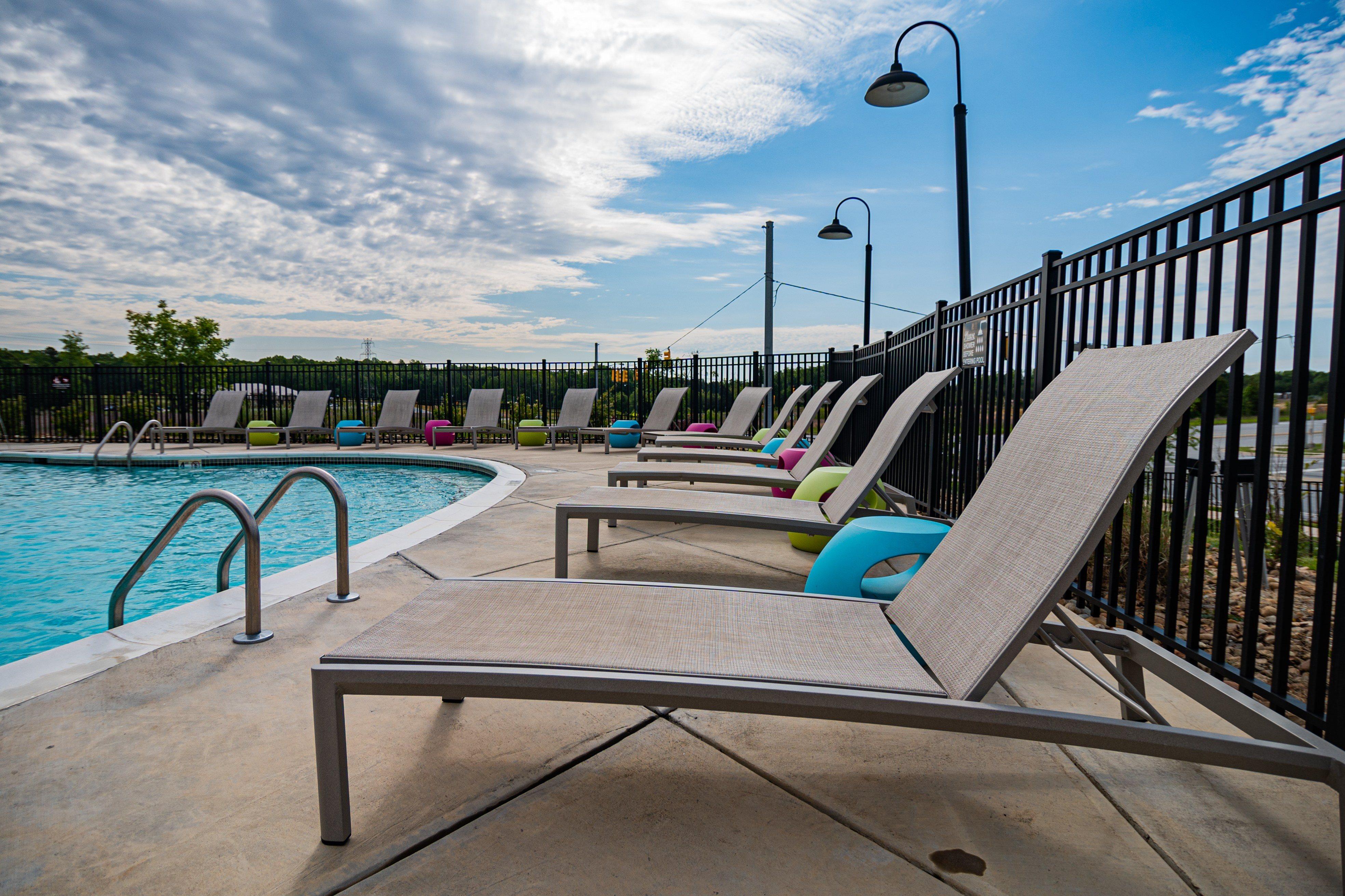 Spacious pool deck at Millis and Main in Jamestown, NC