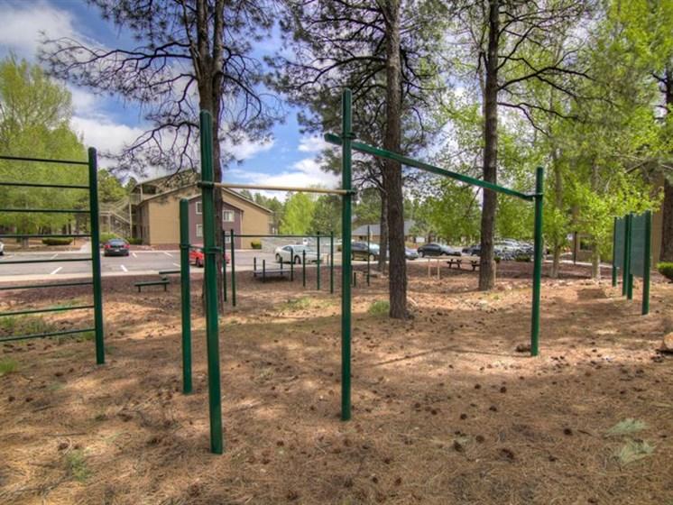 Outdoor Gym at Woodlands Village Apartments, Flagstaff, AZ,86001