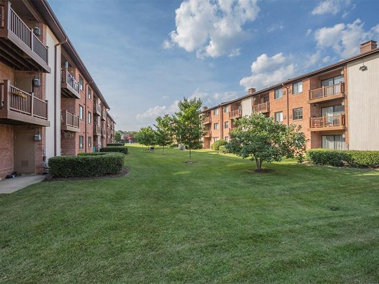lush green grass and exterior view  at Rose Hill Apartments, Alexandria, VA