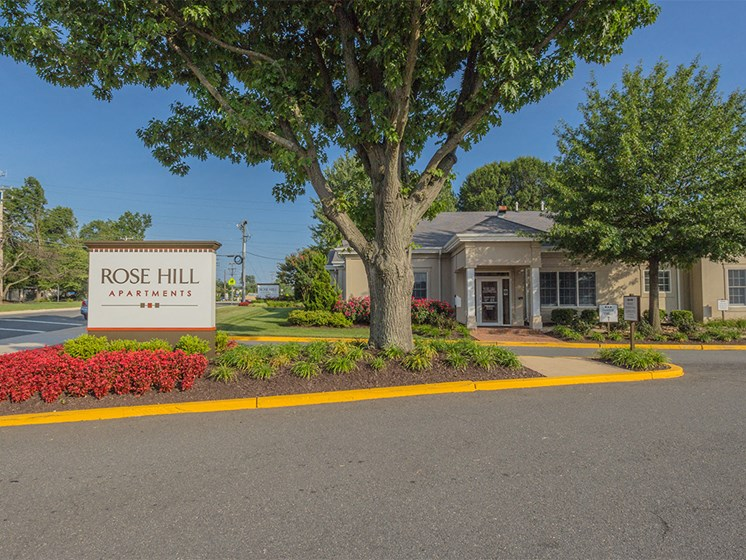 exterior view of sign for rose hill apartments at Rose Hill Apartments, Alexandria, VA, 22310