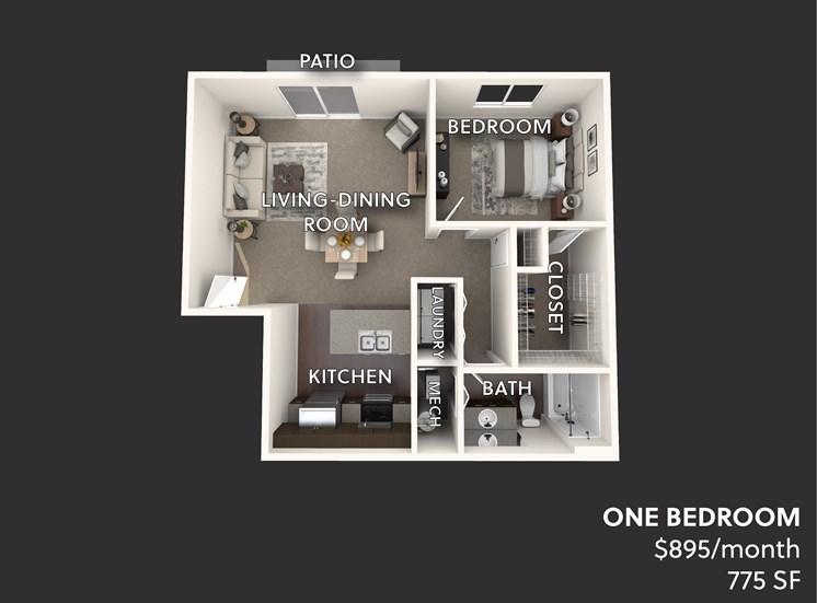 Victory Village Furnished One Bedroom 3D Floorplan