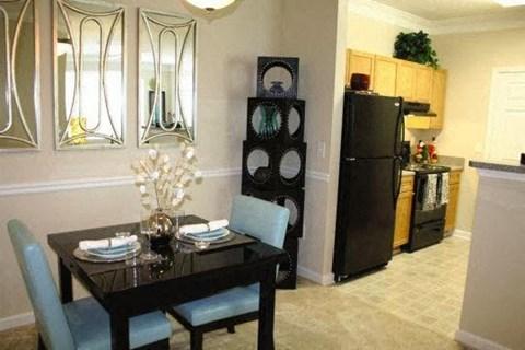 Edgewater Vista Apartments, Decatur Georgia, model dining room open to kitchen