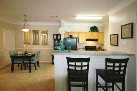 Edgewater Vista Apartments, Decatur Georgia, model apartment kitchen with breakfast bar