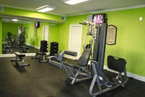 Edgewater Vista Apartments, Decatur Georgia, brightly colored fitness center