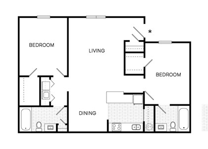 B1 Floor Plan at The Downtowner, Augusta, 30901