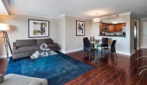 Upgraded Living Room With Wood Flooring at Atler at Brookhaven, Atlanta, GA, 30319