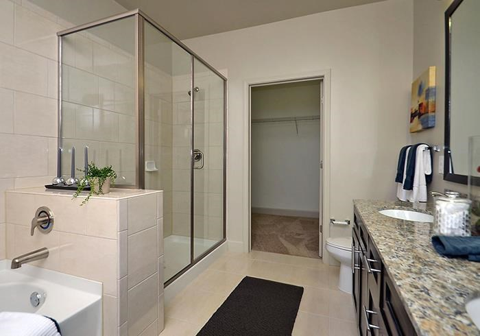 @1377 model bathroom with walk-in shower and closet