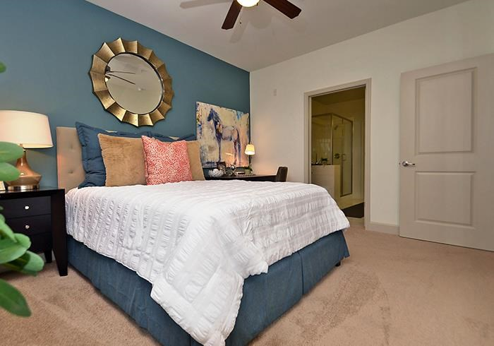 @1377 model bedroom with accent wall