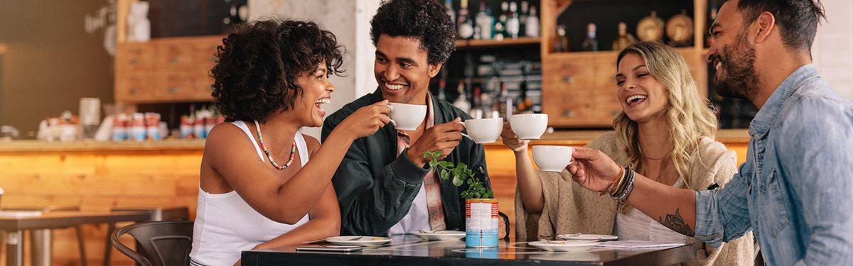 Happy Friends enjoying coffee at Century Crosstown, Tampa, FL