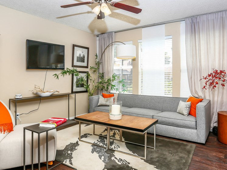 Living room with lighted Ceiling Fan