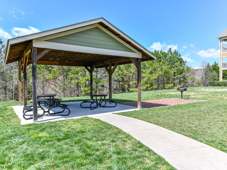 Outdoor Covered Picnic Pavilion and Bike/Walking Paths thru the grounds of Alden Place at South Square Apartments,Durham, NC 27707