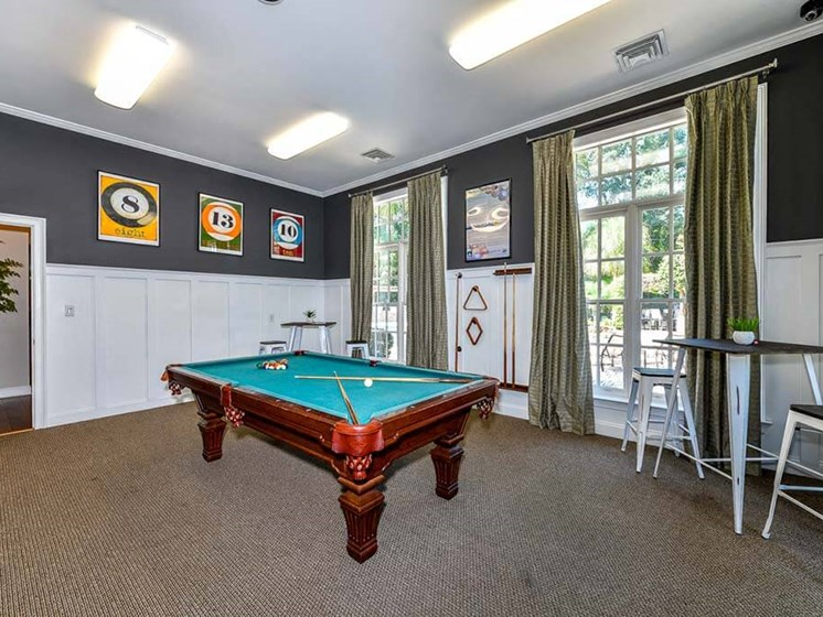 Social Clubroom with TVs and Billiards Lounge at Legends at Charleston Park Apartments, North Charleston, SC, 29420