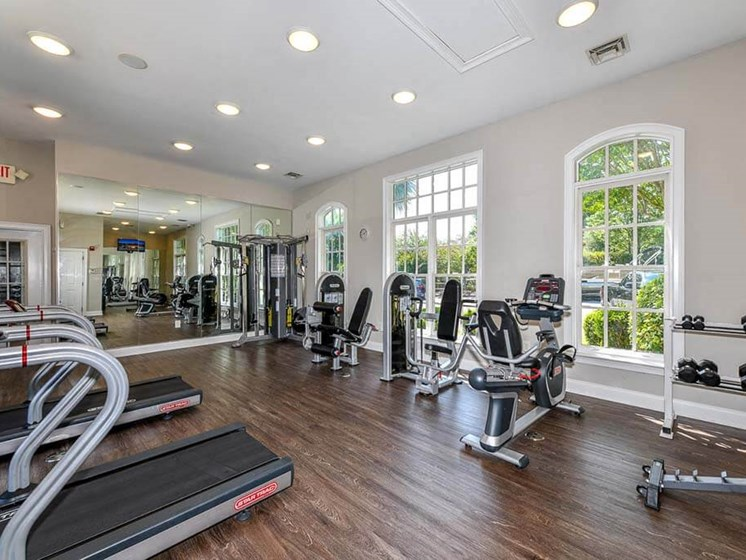 Convenient Fitness Center with Aerobic Room & Weight Training Equipment at Legends at Charleston Park Apartments, North Charleston, SC, 29420