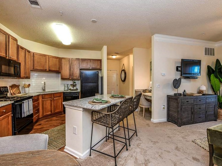 Huge Open Concept Living Space with Elegant Crown Moulding & Chair Railing at Legends at Charleston Park Apartments, North Charleston, SC, 29420