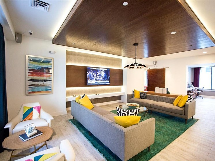 Large Clubhouse With Ample Sitting And Television at The Dartmouth North Hills Apartments, Raleigh, 27609