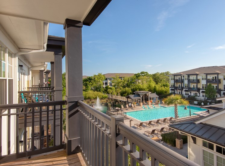 View of the pool from your private balcony at Spyglass Seaside