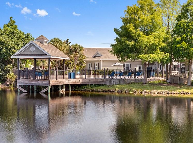 Resort style pool lake view