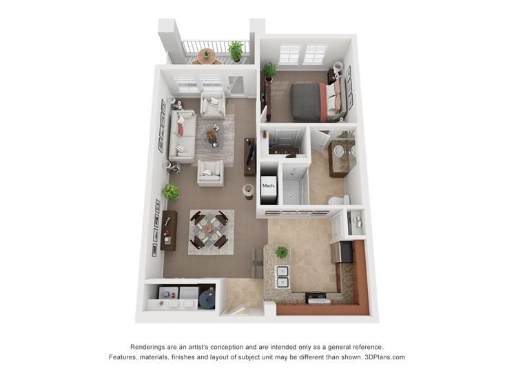One Bedroom One Bath Floor Plan