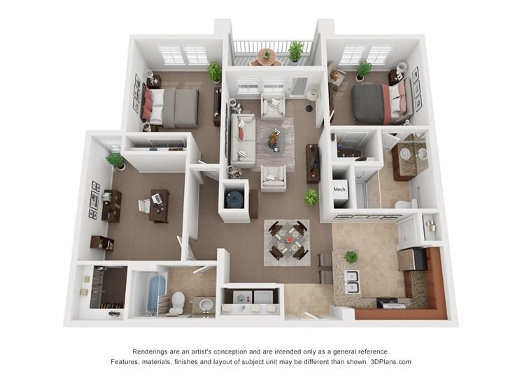 Two Bedroom w/Den Two Bath Floor Plan