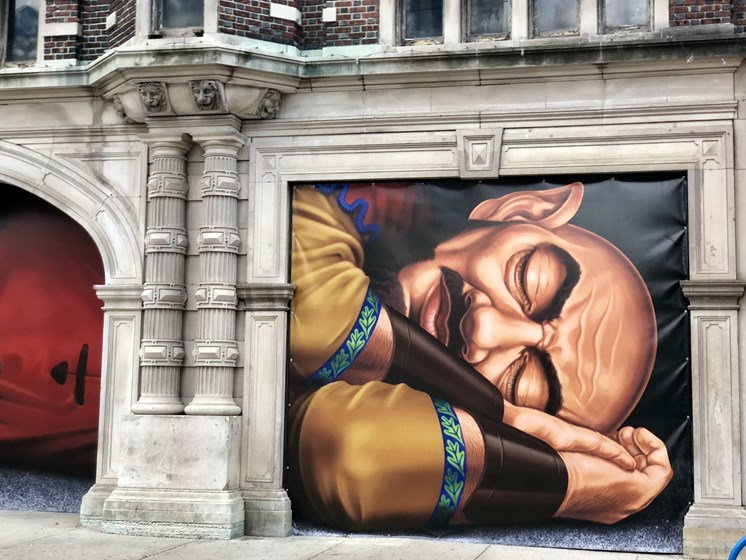 Mural of sleeping giant on building exterior- The Arts Lofts at Dayton Arcade, Dayton, OH - Kevin Lush Photography