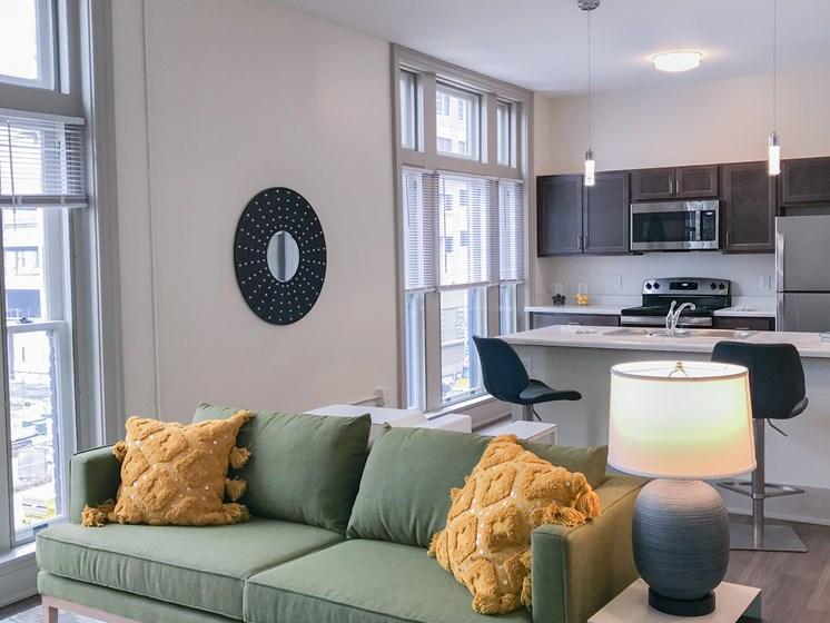 Apartment living room-The Arts Lofts at Dayton Arcade, Dayton, OH