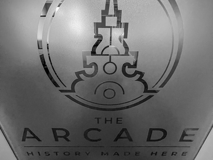 Logo on frosted glass- The Arts Lofts at Dayton Arcade, Dayton, OH - Kevin Lush Photography