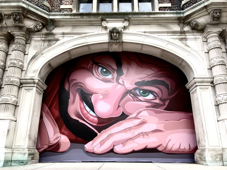 Wall mural painting of awoken giant - The Arts Lofts at Dayton Arcade, Dayton, OH - Kevin Lush Photography