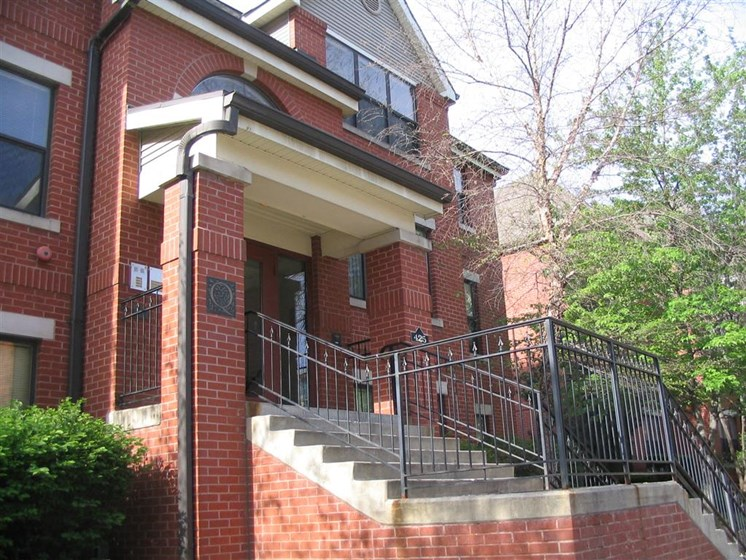 Front brick steps to brick building-Quality Hill Square, Kansas City, MO