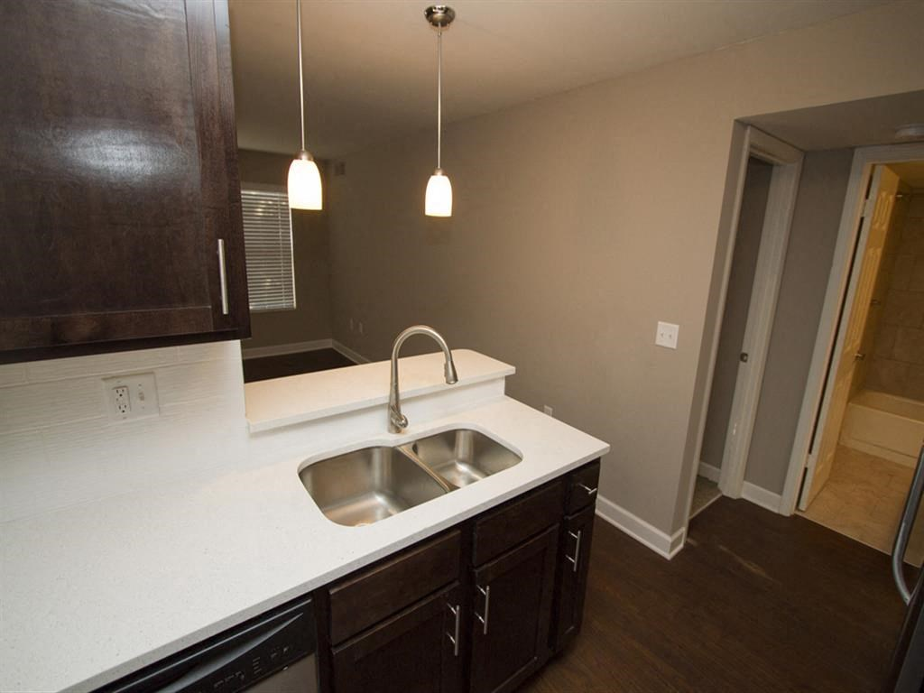 Apartment kitchen countertop and sink-Quality Hill Square, Kansas City, MO