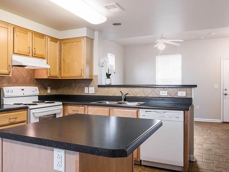 Kitchen area and island-Legends Park Apartments, Memphis, TN