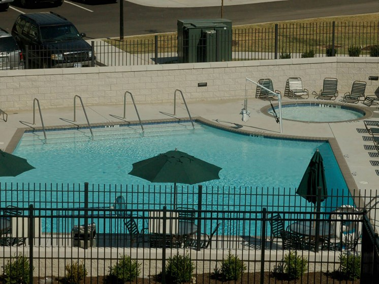 Aerial view of outdoor pool-Quimby Plaza Apartments Memphis, TN