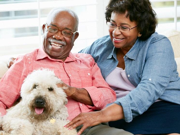 Elder couple with dog-Mercer Commons Apartments Cincinnati, OH