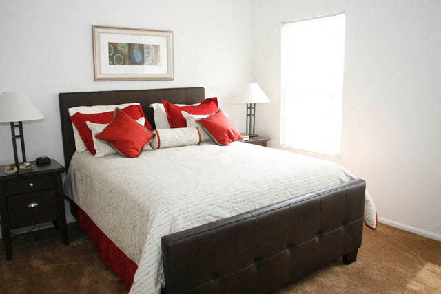 Apartment bedroom furnished-Preservation Square, St. Louis, MO