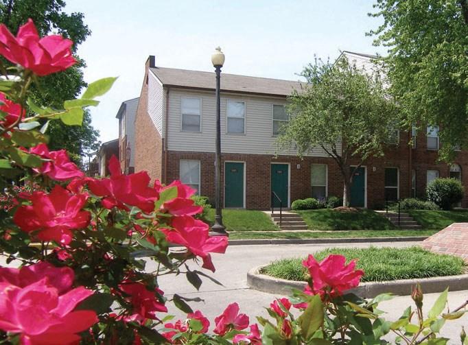 Exterior of apartment building-Preservation Square, St. Louis, MO