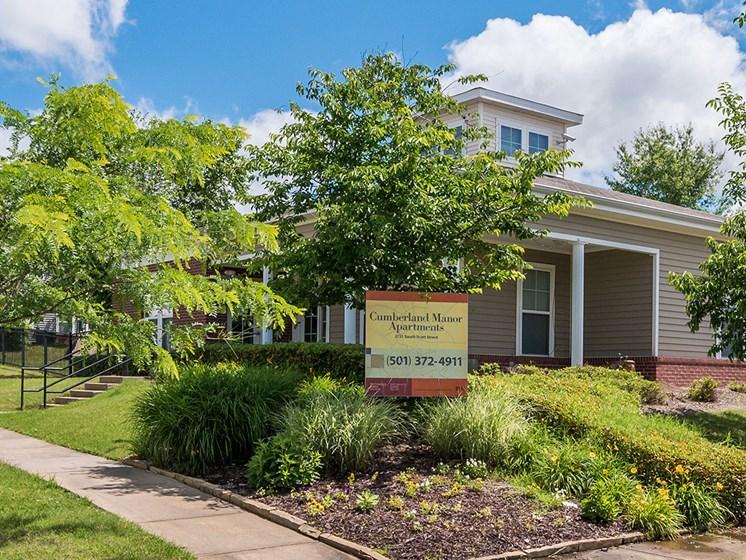 Leasing Office Exterior Landscape-Metropolitan Village and Cumberland Manor Apartments, Little Rock, AR