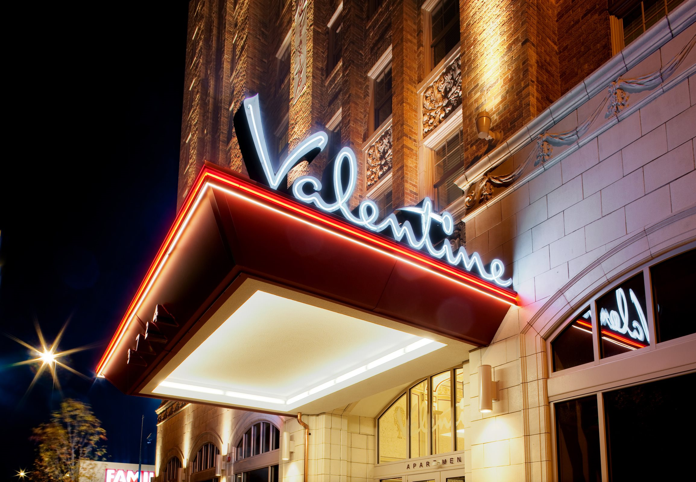 Neon property sign-Valentine Apartments, Kansas City, MO