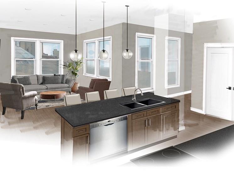 Interior view of kitchen area
