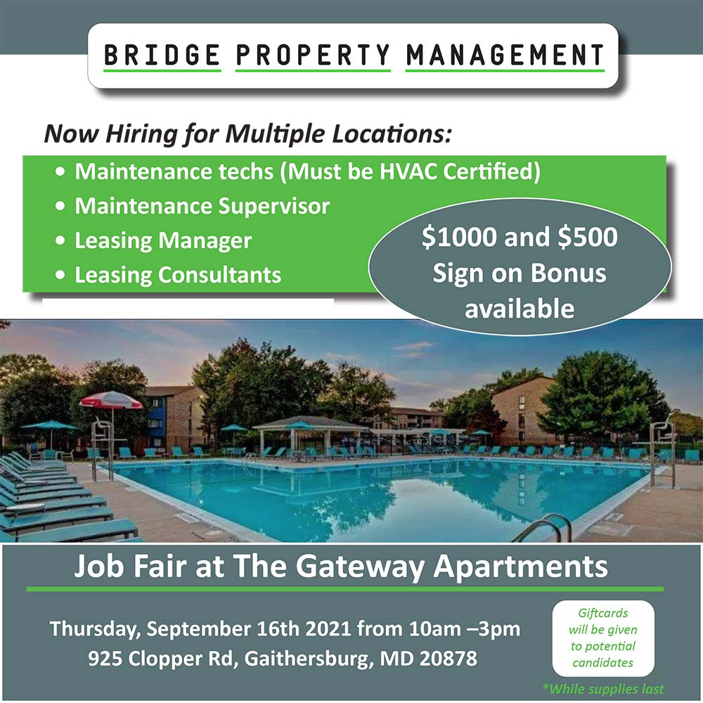 Flyer for a Job Fair on September 16 at 10:00 AM to 3:00 PM