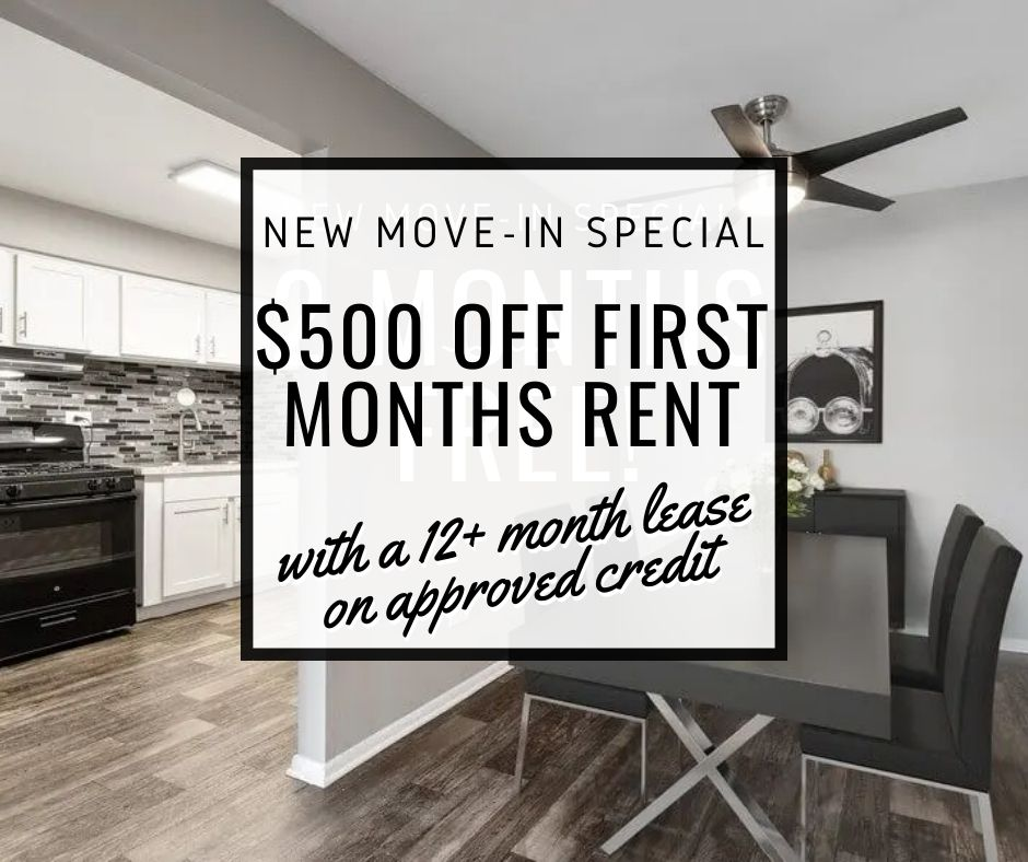$500 off all floor plans. 12+ month lease. For new-move-ins only.