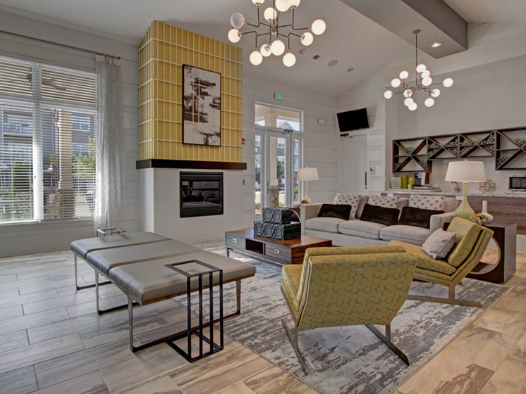 Clubhouse and fireplace at York Woods at Lake Murray Apartment Homes, South Carolina, 29212