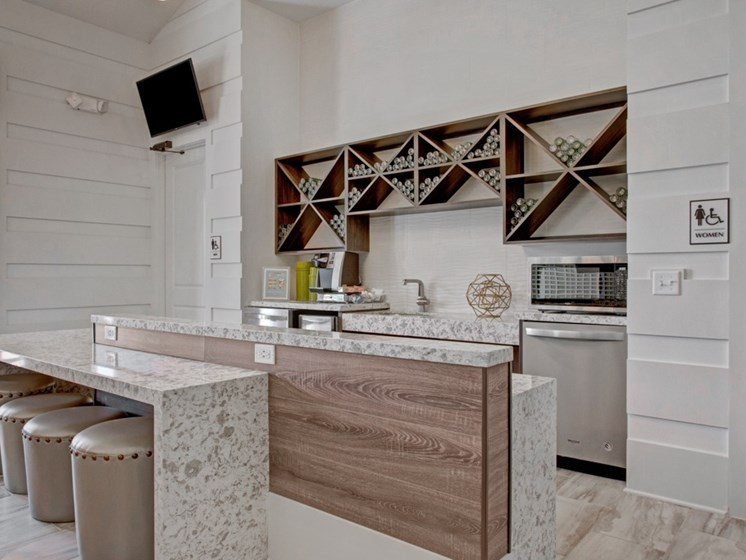 Clubhouse coffee bar at York Woods at Lake Murray Apartment Homes, Columbia