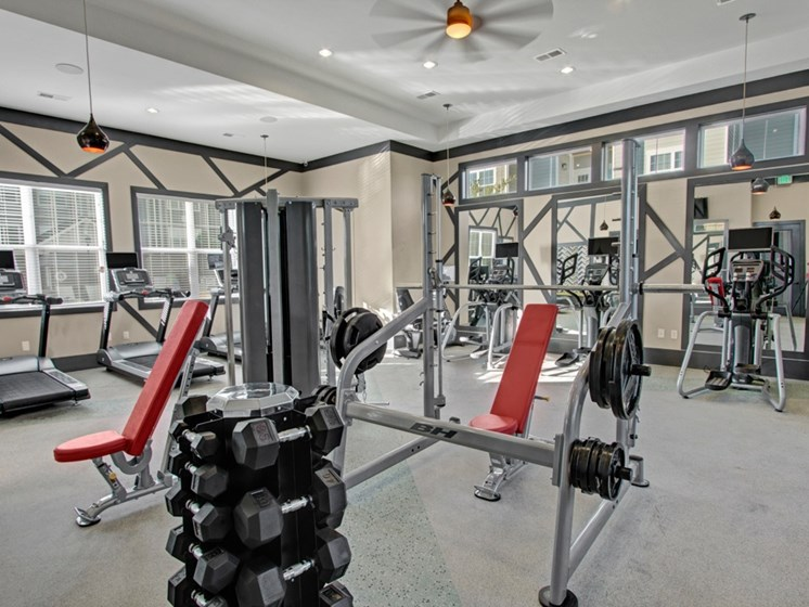 Fitness Center. Free weights, big mirrors, work out stations. at York Woods at Lake Murray Apartment Homes, South Carolina, 29212