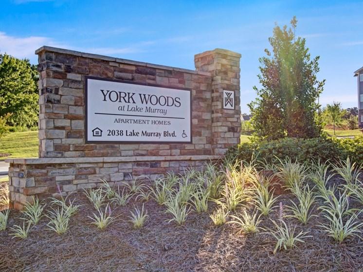 York Woods Sign at York Woods at Lake Murray Apartment Homes, South Carolina, 29212