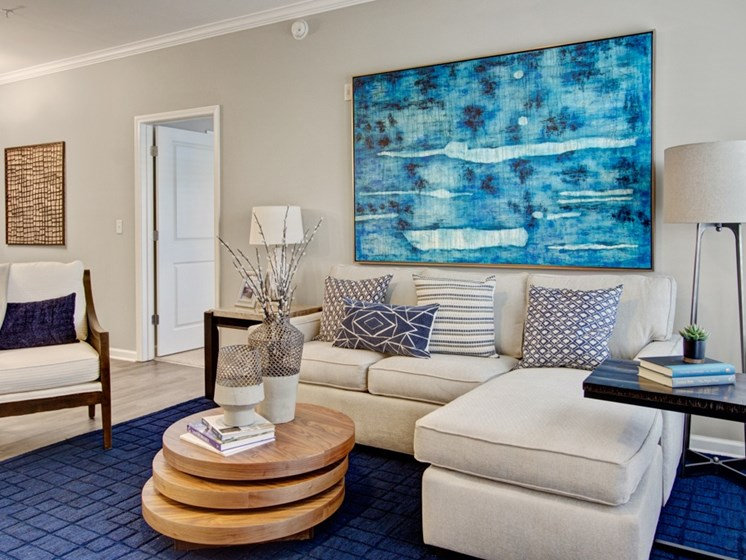 Living room interior at York Woods at Lake Murray Apartment Homes, Columbia, SC, 29212