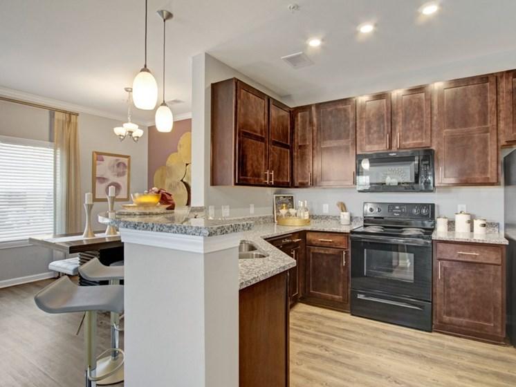 Model kitchen at York Woods at Lake Murray Apartment Homes, South Carolina, 29212