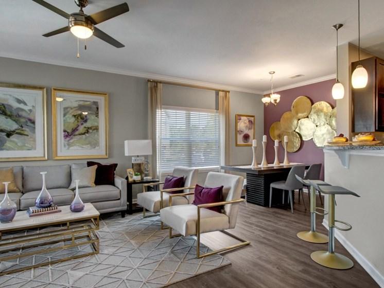 Model living room at York Woods at Lake Murray Apartment Homes, Columbia